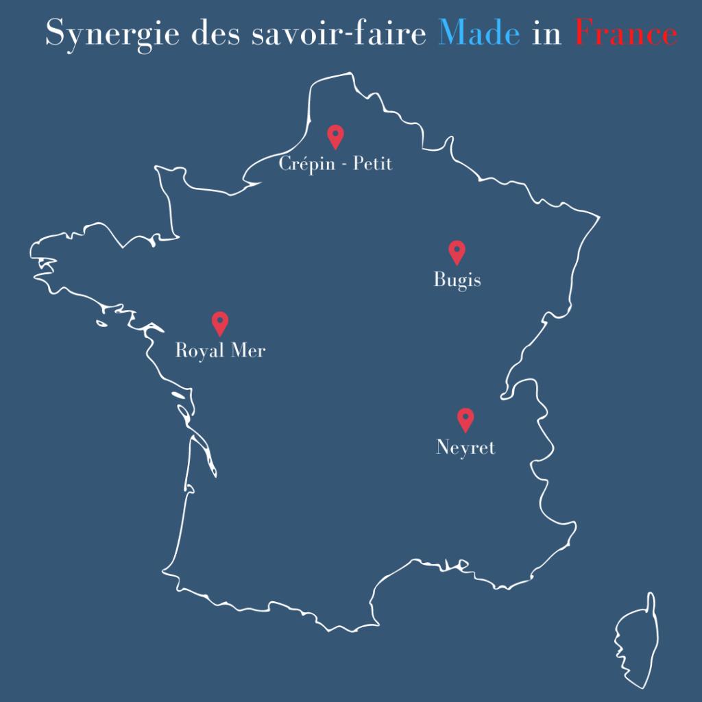 carte des partenaires Royal Mer de la capsule marinière made in France